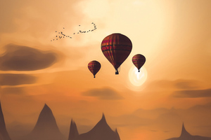 Air Balloon Landscape 4k