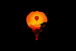 Air Balloon Minimal Dark Art 4k