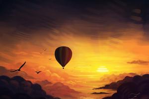 Air Balloon Sunset Digital Art Wallpaper