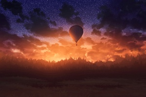 Air Balloons Sunrise Sky Forest 4k