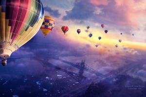 Air Balloons Sunset 4k