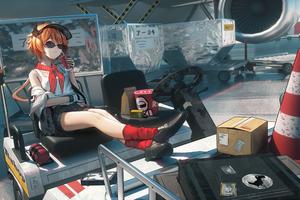 Air Hostess Chilling 4k Wallpaper