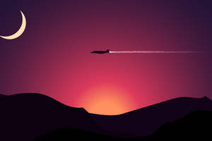 Aircraft Moon Mountains Sunset