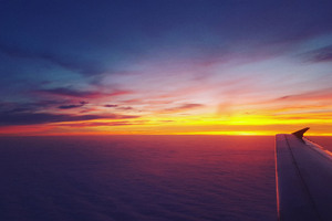 Airplane Dawn Dusk Flight Sunrise Sky Wallpaper