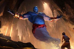 Aladdin Art Genie Wallpaper