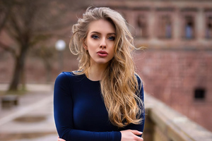 Alexa Breit Blonde In Blue Dress 4k Wallpaper