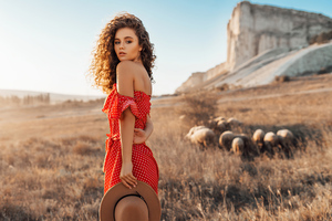 Alina Zaslavskaya Red Polka Dot Dress 4k Wallpaper