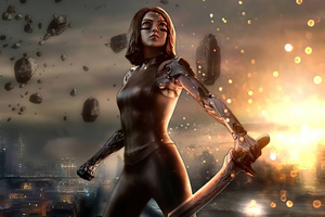 Alita Battle Angel Glowing Portrait 4k Wallpaper