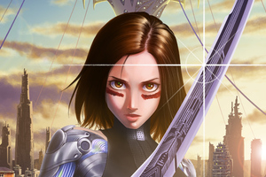 Alita Battle Angel Illustration 4k