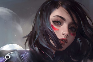 Alita Face Portrait Art 4k Wallpaper