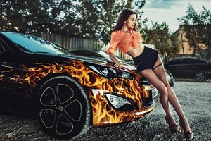 Alla Berger Posing With Car Wallpaper