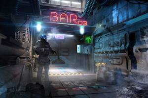 Alleyway Cyberpunk Bar 4k
