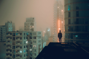 Alone At Rooftop Wallpaper