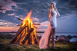 Alone Girl Standing Near Fire Wallpaper