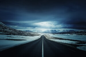 Alone Road Snow Cold Open Sky Mountains