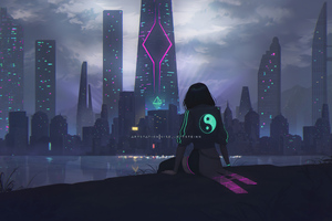 Alone Talks Cyberpunk Scifi 4k Wallpaper