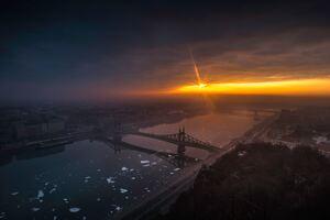 Amazing City Bridge Sunrise 8k