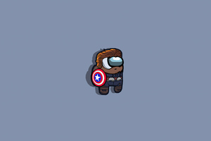 Among Us Captain America Minimal 5k Wallpaper