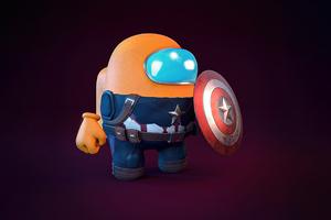 Among Us X Captain America Wallpaper