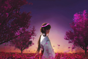 Ancient Anime Girl Walk Garden 4k