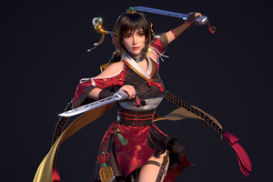 Ancient Asian Warrior Girl With Two Swords Wallpaper
