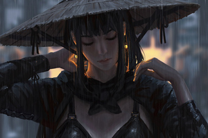 Ancient Warrior Girl Rain Hat 4k Wallpaper