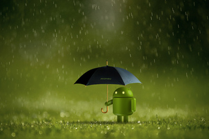 Android Doodle With Umbrella 4k
