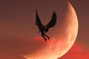 Angel Boy Flying To Moon 5k Wallpaper