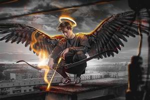 Angel Boy With Dark Wings 4k Wallpaper