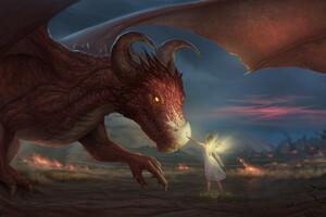 Angel Wings Taming Dragon 4k