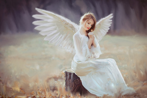 Angel With Wings Wallpaper