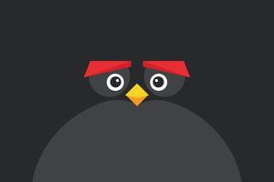 Angry Bird Minimal Dark 8k Wallpaper