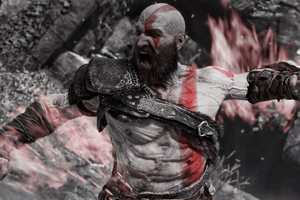Angry Kratos 4k Wallpaper