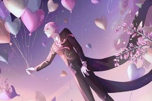 Anime Boy Balloons 4k Wallpaper