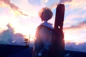 Anime Boy Guitar Painting Wallpaper