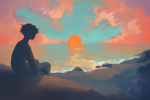 Anime Boy Sitting Watching Sunset