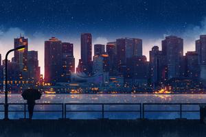 Anime City Lights Night Rain Umbrella Sky 5k
