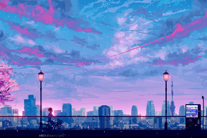 Anime Cityscape Landscape Scenery 5k Wallpaper