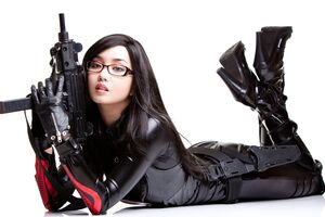 Anime Cosplay Girl With Guns