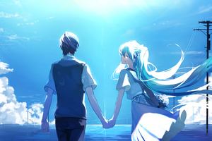 Anime Couple Holding Hands Hatsune Miku Wallpaper