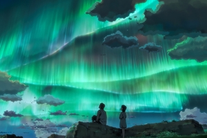 Anime Couple Looking At Aurora Sky 8k