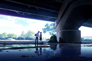 Anime Couple Meeting Under Bridge 4k