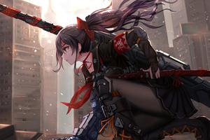 Anime Cyber Arm Sword Girl 4k Wallpaper