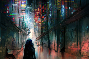 Anime Cyberpunk Scifi City Lights Night Buildings Futuristic