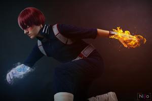 Anime Fire And Ice Boy