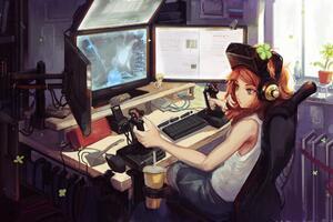 Anime Gamer Girl