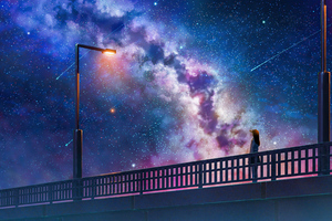 Anime Girl Alone At Bridge Watching The Galaxy Full Of Stars 4k