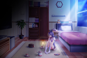 Anime Girl Alone In Room On Her Birthday Wallpaper