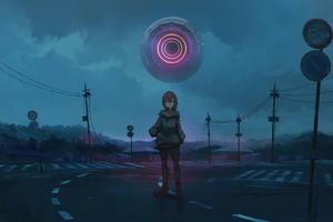 Anime Girl Alone Road Green Eyes 8k Wallpaper