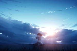 Anime Girl Alone Sitting Wallpaper
